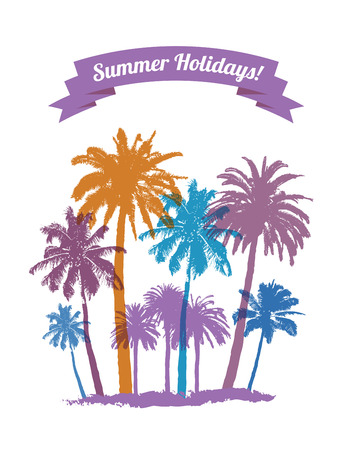 graphic background: Tropical Background with Palms for T-shirt. Summer Traveling.