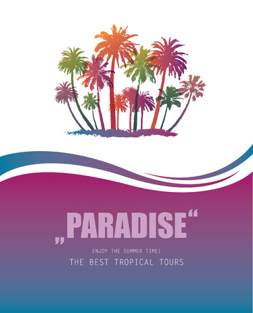 tree silhouettes: Background with Tropical Paradise.  Travel Banner with Palms.
