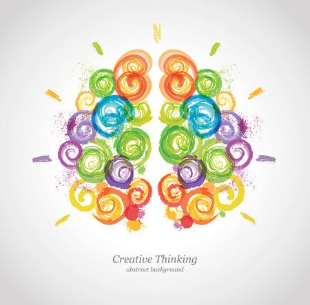Cerebro humano creativo en el trabajo. Vector de fondo conceptual de Negocios y Educación.