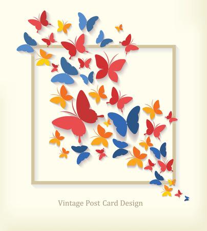 Carte postale vintage avec des papillons.