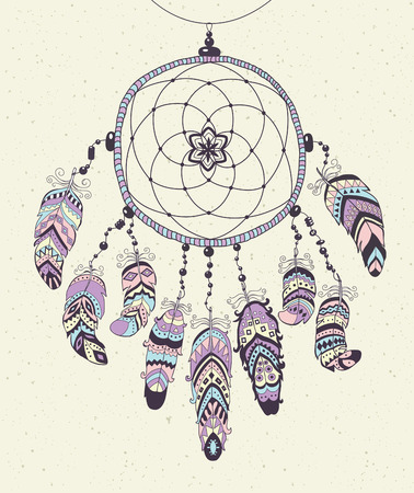 totem indien: Native American Indian Talisman Dreamcatcher avec Plumes. Vector Design ethnique, Boho style.