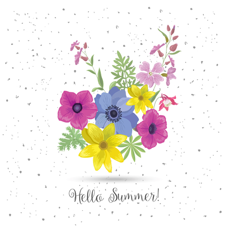 greeting season: Beautiful Greeting Card with Flowers. Summer Floral Bouquet and Slogan. Season Flower Print for T-shirt. Vector Wedding Background.