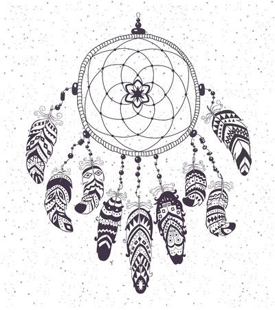 talism�n: Native American Indian Talisman Dreamcatcher con las plumas. Vector de dise�o �tnico de Boho del estilo.