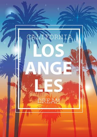 Farbe tropischen Hintergrund. Exotische Banner mit Palmen. Verzierung für T-Shirt. Sommer-Hintergrund für den Tourismus. Die Reise nach Kalifornien, Los Angeles. Standard-Bild - 58646705