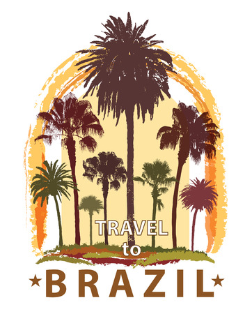 trees silhouette: Travel Banner with Palm Trees for Brazil. Exotic Print for T-Shirt. Illustration