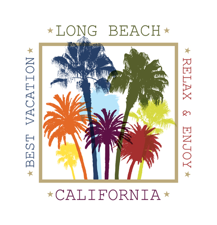 palm trees: Exotic Travel Background with Palm Trees for Long Beach, California. Summer Print for T-Shirt.