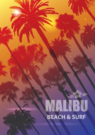 malibu: Exotic Travel Background with Palm Trees for Malibu, California. Summer Print for T-Shirt. Illustration