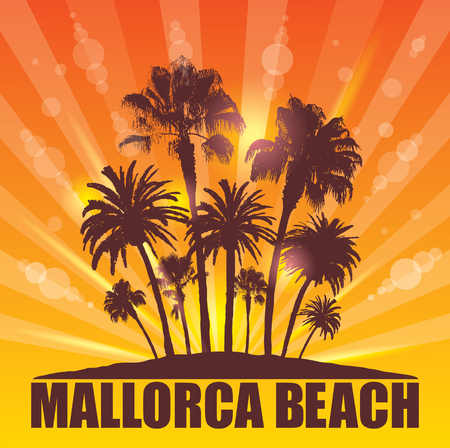 majorca: Exotic Travel Background with Palm Trees for Mallorca, Spain.