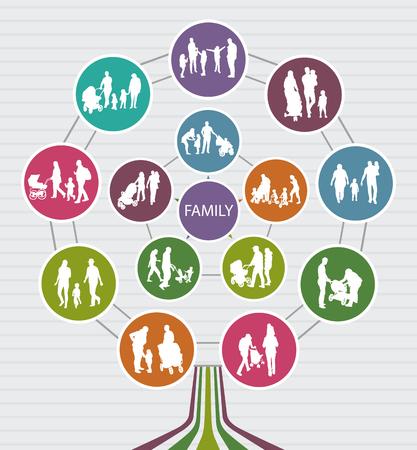 arbol genealógico: Conceptual de fondo Familia con siluetas vector. Árbol de familia.
