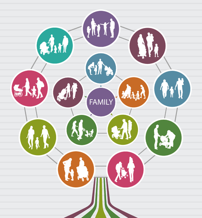 tree silhouettes: Conceptual Family Background with vector Silhouettes. Family Tree. Illustration