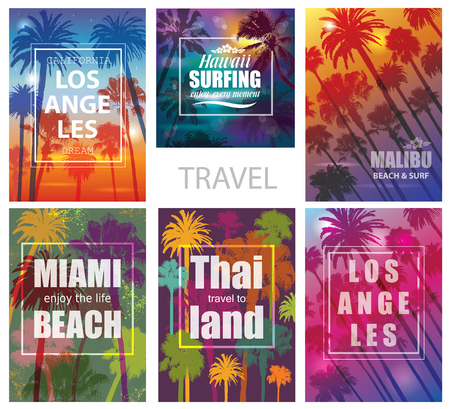 Exotic Travel Backgrounds with Palm Trees .  Vector Prints for T-shirt. Illustration