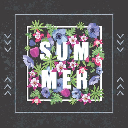 fashion and beauty: Vintage Floral Greeting Card. Fashion Print for T-shirt. Summer Floral Banner.