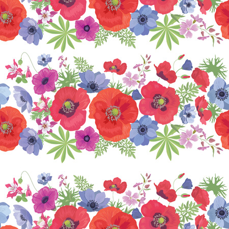 petunia: Seamless Vector Floral Pattern with Poppies , Anemones, Petunia and Fuchsia . Summer Fashion Ornament for Fabric and Wrapping Paper.