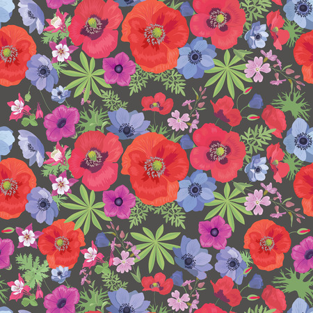 fabric pattern: Seamless Vector Floral Pattern with Poppies and Anemones. Summer Fashion Ornament for Fabric and Wrapping Paper.