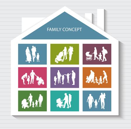habitation: Conceptual Banner for Family. Vector Family Silhouettes. Habitation for Family.