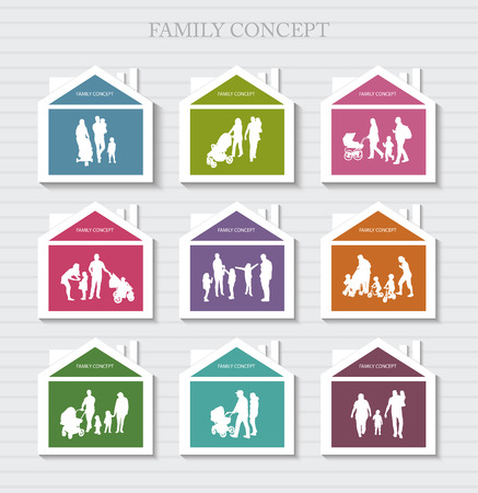 social actions: Conceptual Banner for Family. Vector Family Silhouettes. Habitation for Family.