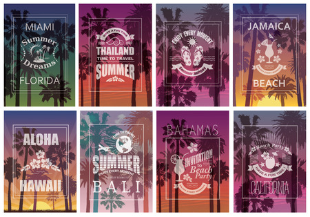 travel backgrounds: Exotic Travel Backgrounds with Palm Trees. Vector Set of Banners.