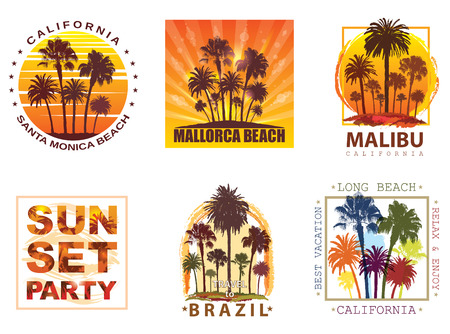 majorca: Exotic Travel Backgrounds with Palm Trees for T-shirt. Summer Banner for Tourism.