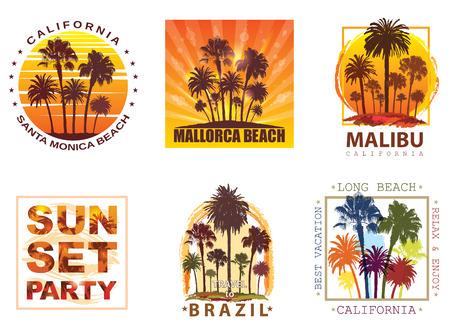 Exotische Travel Achtergronden met Palmen voor T-shirt. Summer Banner voor Toerisme.