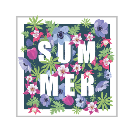 greeting card background: Floral Summer Greeting Card Design. T-shirt Fashion Graphic. Flower Background with Slogan.