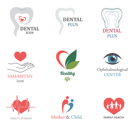 eye health: Set of Medical Icons Design Elements: tooth, heart, eye. Health of Family. Illustration