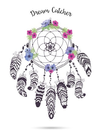 Native American Indian Talisman Dreamcatcher with Feathers and Flowers. Vector Ethnic Design, Boho Style. Dream Catcher isolated on white Background.