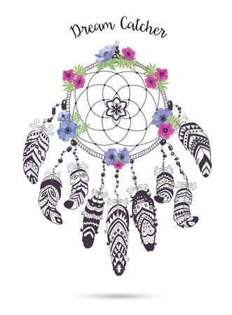 talisman: Native American Indian Talisman El cazador de sueños con plumas y flores. Vector de diseño étnico de Boho del estilo. Colector ideal aislados sobre fondo blanco.
