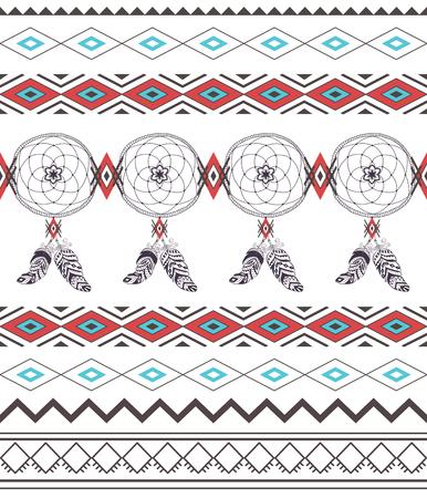totem indien: Motif tribal Boho transparente avec Dream Catcher. Ornement géométrique ethnique. Motif Boho Vector. Tissu et emballage Texture.