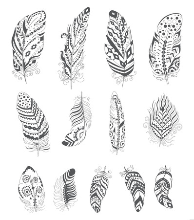 Set of Ornamental Boho Style Feather. Hippie Design Elements. Vector Ethnic Decoration for Tattoo, T-shirt, Fabric. Trendy Tribal Symbol Collection.