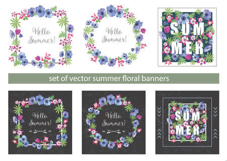 slogan: Set of Floral Summer Greeting Cards Design with Anemone and Fuchsia. Fashion Prints for T-shirt . Flower Frames with Slogan.