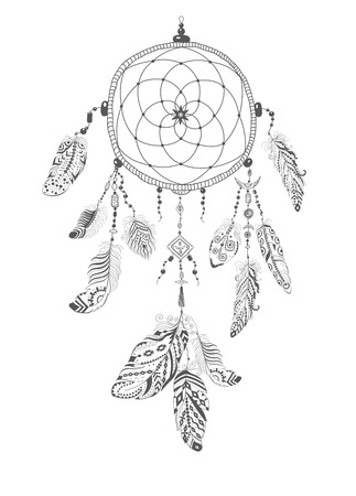 gitana: receptor indio nativo americano Talisman Sueño con las plumas. Vector de diseño étnico de Boho del estilo.