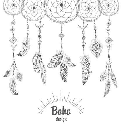 talisman: Fondo con el indio del nativo americano Colector ideal Talisman y las plumas. Vector de diseño étnico de Boho del estilo.