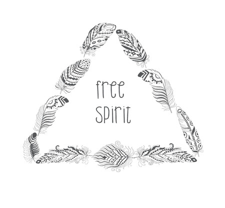 Vector Frame with Bird Feathers isolated on White Background. Boho Style Design for T-shirt. Stylized Feather with Ornament.