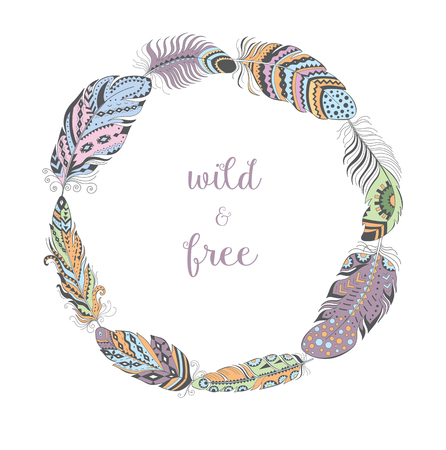 Vector Color Frame with Bird Feathers isolated on White Background. Boho Style Design for T-shirt. Stylized Feather Wreath with Ornament. Illustration