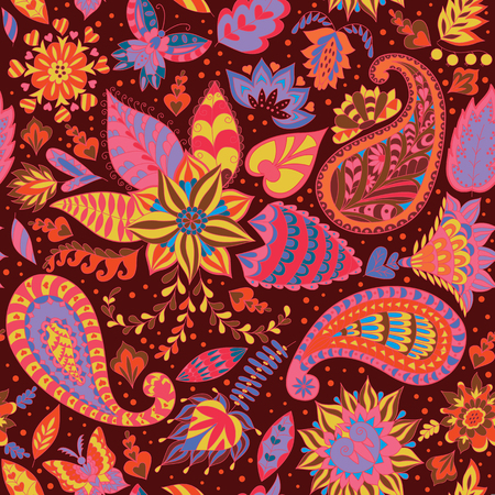 fauna: Seamless Abstract Floral Pattern with Paisley. Vector Fashion Ornament for Fabric and Wrapping Paper.