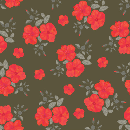 Hibiscus bloem naadloze patroon. Zomer Ornament. Gypsy Stile. Vector Achtergrond.