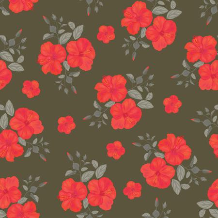 gitana: Patrón de flores sin fisuras hibisco. Ornamento del verano. Stile gitana. Antecedentes del vector.