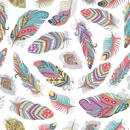 Federn Boho nahtlose Muster. Tribal Ethnic-Hintergrund-Beschaffenheit. Kleidung Kunst, Tapete, Verpackung. Vector Indian Ornament. Standard-Bild - 61249948