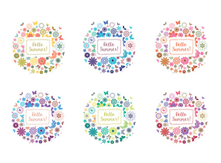 Floral Summer Banner Set. Abstract Flower Frames with Butterflies. Print for T-shirt or Greeting Card.