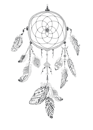 Native American Indian Talisman Dream catcher with Feathers. Vector Ethnic Design, Boho Style. Stock Photo