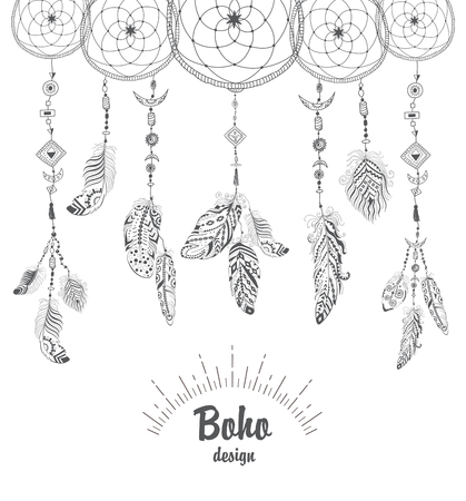 talisman: Background with Native American Indian Talisman Dream catcher and Feathers. Vector Ethnic Design, Boho Style. Foto de archivo