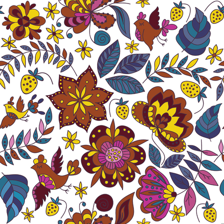 flora fauna: Flower and Birds Seamless Decorative Pattern. Abstract Vector Fashion Ornament for Fabric and Wrapping Paper.