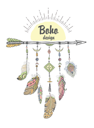 decoration style: Boho Style with Ethnic Arrows and Feathers. American Indian Motifs for T-shirt and Card. Vector Ethnic Decoration. Stock Photo