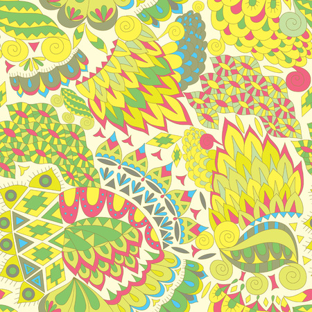 background color: Vintage Ethnic Seamless Background. Boho Pattern. Color Abstract Ornament. Vector Decorative Background for Fabric.