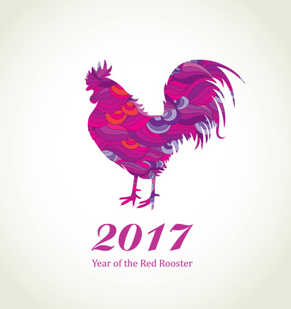 chinese astrology: Red Rooster. New Year Greeting Card with Symbol of 2017 on the Chinese Calendar. Fire Cock with Abstract Pattern. Illustration