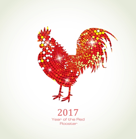 Red Rooster. New Year Greeting Card with Symbol of 2017 on the Chinese Calendar. Fire Cock with Abstract Pattern. Illustration