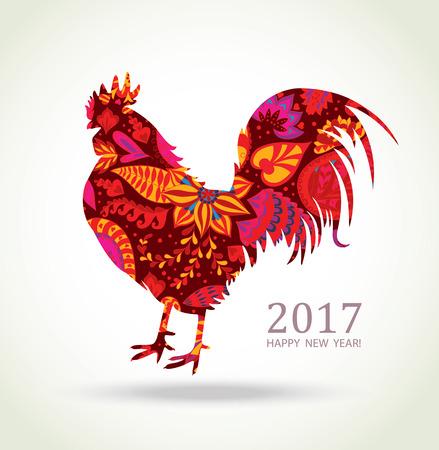gallo: Gallo rojo. Nueva tarjeta de felicitación de Año con el símbolo de 2017, por el calendario chino. Cock fuego con estampado de flores. Vectores