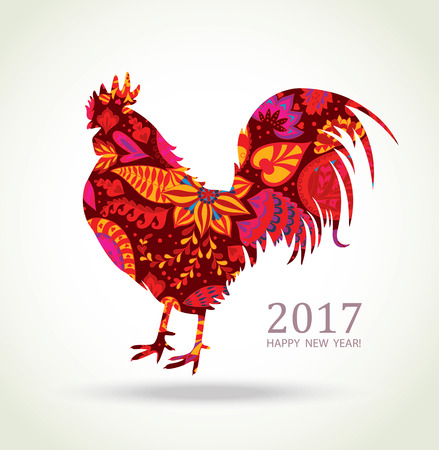 pattern new: Red Rooster. New Year Greeting Card with Symbol of 2017 on the Chinese Calendar. Fire Cock with Floral Pattern.