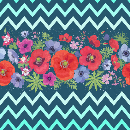 Beautiful Flower Seamless Pattern with Zigzag Stripes . Summer Fashion Background.