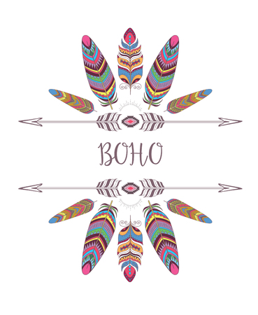 Boho Style Frame. Border with Decorative Bird Feather. Design for T-shirt.